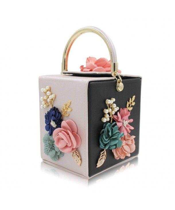 Women Clutches Flower Clutch Bag Box Clutch Purse Evening Handbag - Black  Beige - C518EL5Z6RG   Wedding clutch purse, Wedding clutch, Evening clutch  bag