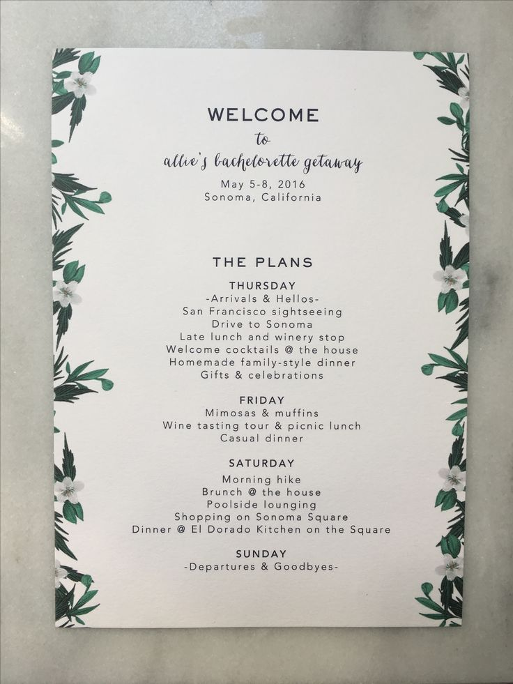 Bachelorette Itinerary. Copywriting and layout by Anastasia Valocchi                                                                                                                                                                                 More