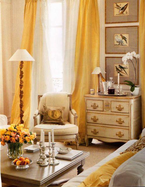 Daffodil yellow silk taffeta curtains