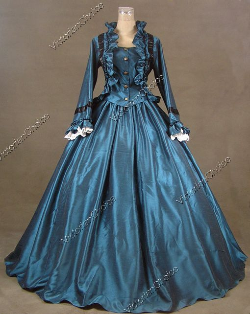 Civil War Victorian Satin Ball Gown Period Dress Prom Reenactment Theatre Clothing