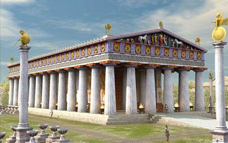 templo donde se albergaba la colosal estatua de Zeus.