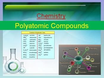 POLYATOMIC COMPOUNDS LESSON, only $3.00! Click on the image to download your free preview. Everything you need to teach Polyatomic Ions/Compounds. Includes the lesson, a student lesson handout and a worksheet with answers provided. Included in the lesson package is: -The teacher and student versions of the power point - Student worksheet with answers - Student word copy of the presentation Topics Include: - An introduction to Polyatomic Ions and Compounds - And Much More!