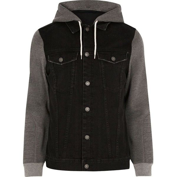 River Island Black jersey hoodie denim jacket ($64) ❤ liked on Polyvore featuring men's fashion, men's clothing, men's outerwear, men's jackets, black, jackets, mens short sleeve jacket, mens denim jacket, mens distressed leather jacket and tall mens jackets