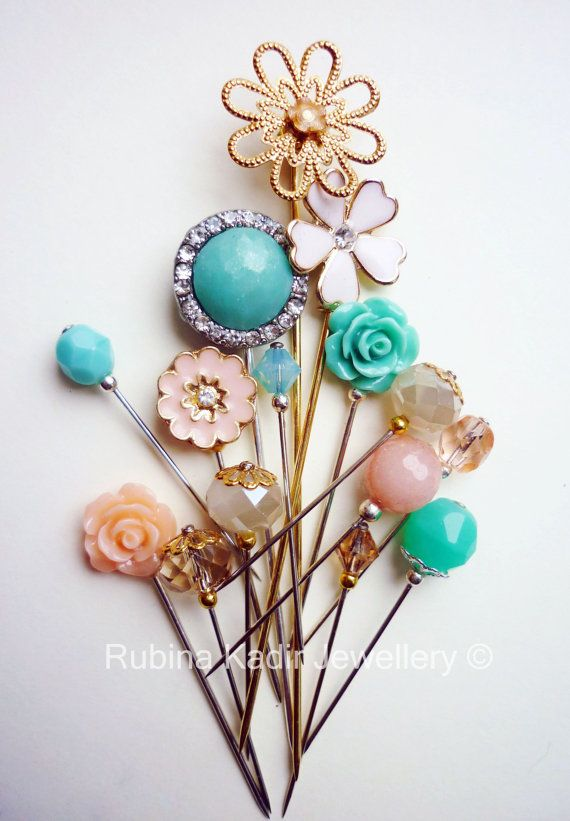 HIJAB PIN - 15 Mint Green Peach Cream and Gold Hijab Pin Mix / by RubinaKadir, £12.50