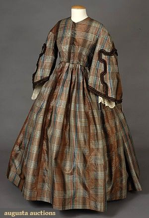 Plaid Silk Taffeta Day Dress, 1850s, Augusta Auctions, May 2007 Vintage Clothing & Textile Auction, Lot 827