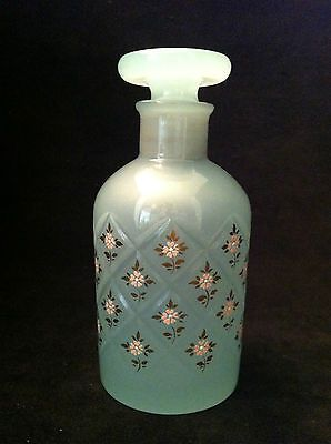 DECORATIVE PERFUME BOTTLE, BLUE MILK GLASS