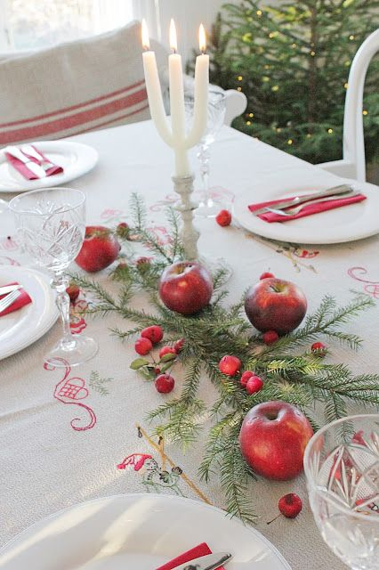 CHRISTMAS: Beautiful Table Setting. Scandinavian Style. Love the embroidered tablecloth.