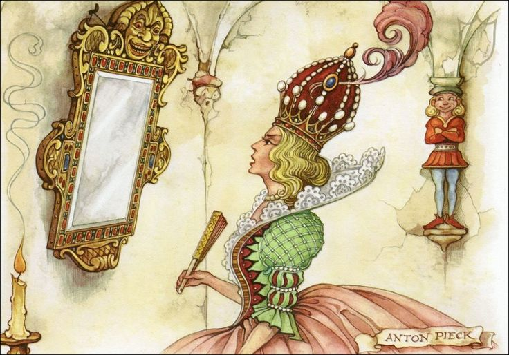 Snow White stepmother with mirror - Tales of the Efteling by Martine Bijl and Anton Pieck