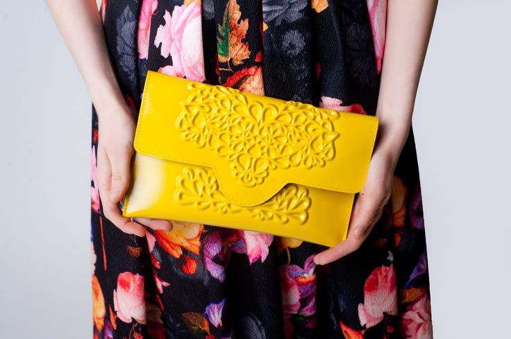 Envelope clutch bag / yellow clutch purse / standout yellow bag / non leather vinyl / floral embossed print / medusa is vegan / love animals (75.00 USD) by MeDusaBrand