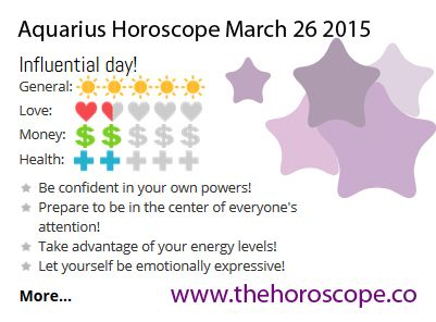 Influential day for #Aquarius on March 26th 2015 #horoscope …Below you can find the prediction for today and tomorrow! http://www.thehoroscope.co/Aquarius-Horoscope-today.php http://www.thehoroscope.co/Aquarius-Horoscope-tomorrow.php