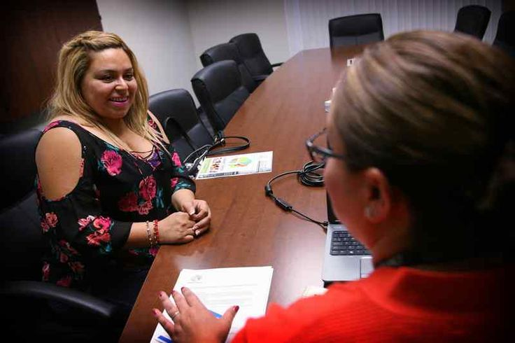 Jeanette Villarreal, left, of Corona speaks to Alisha Villela of the Corona-Norco Parent Center on Wednesday, June 15, 2016. More Inland schools are aiming to educate parents, not just students. This week, Corona-Norco Unified opened its new parent center. Riverside, Temecula, Murrieta, Lake Elsinore school districts also have them. (Kurt Miller, Staff Photographer)