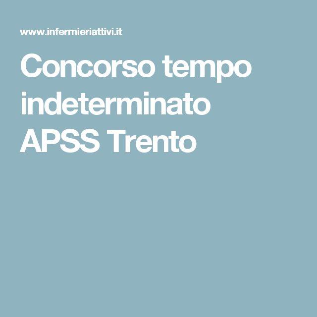 Concorso tempo indeterminato APSS Trento