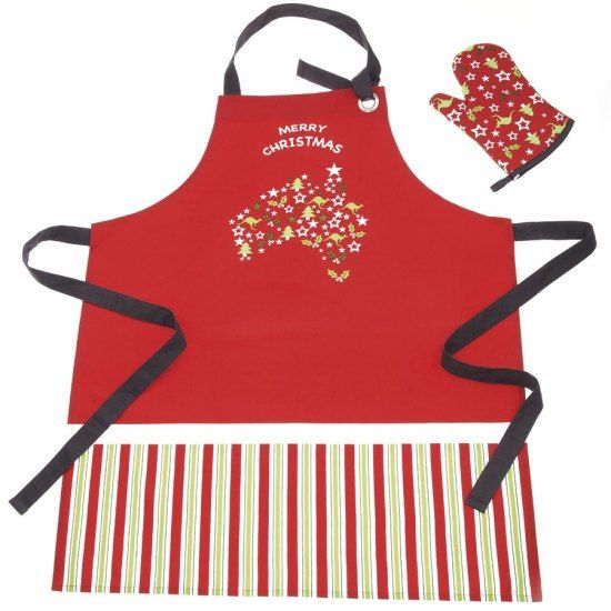 #australia #home #garden #shopping -   Christmas Apron and Oven Glove Set - Kangaroos and Christmas trees in a 'map of Australia' design make this set a must - and a perfect gift for friends overseas! Made from cotton, both the apron and t... - Speci