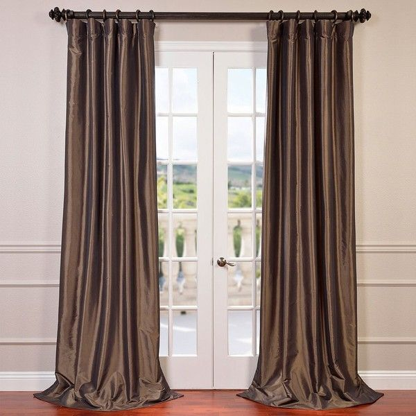 EFF Blackout Faux Silk Taffeta Curtain ($210) ❤ liked on Polyvore featuring home, home decor, window treatments, curtains, brown, lining curtains, black out curtains, blackout curtains, blackout window treatments and blackout window coverings