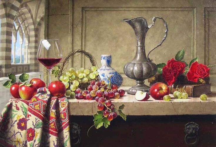 Mark Pettit   (b.1959) — Still Life with Venetian Pitcher (800x545)