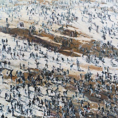 Philippe Cognée, Crowd under the Sun, 2014, 200x200cm