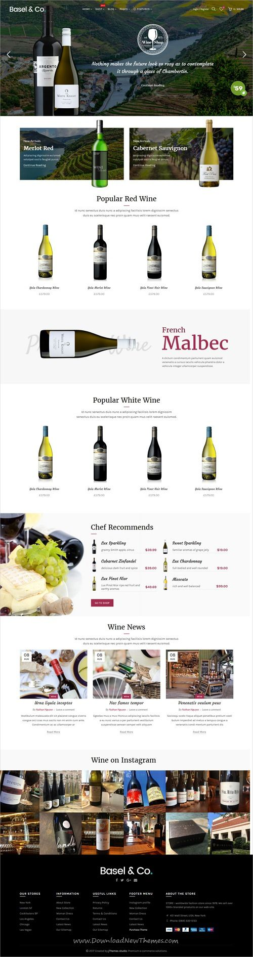 Basel is clean, stylish & modern design responsive #Shopify theme for stunning #wine #liquor store #eCommerce website with 18+ niche homepage layouts download now..