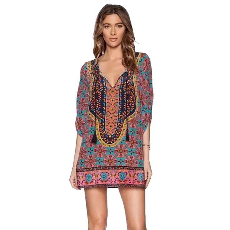 Cheap dresses that are slimming, Buy Quality dress code dresses directly from China dresses for flower girls Suppliers:                  Summer Style Women Vintage Ethnic Dress Brand Baroque Style Floral Print Casual Beach Shift Dress Boho