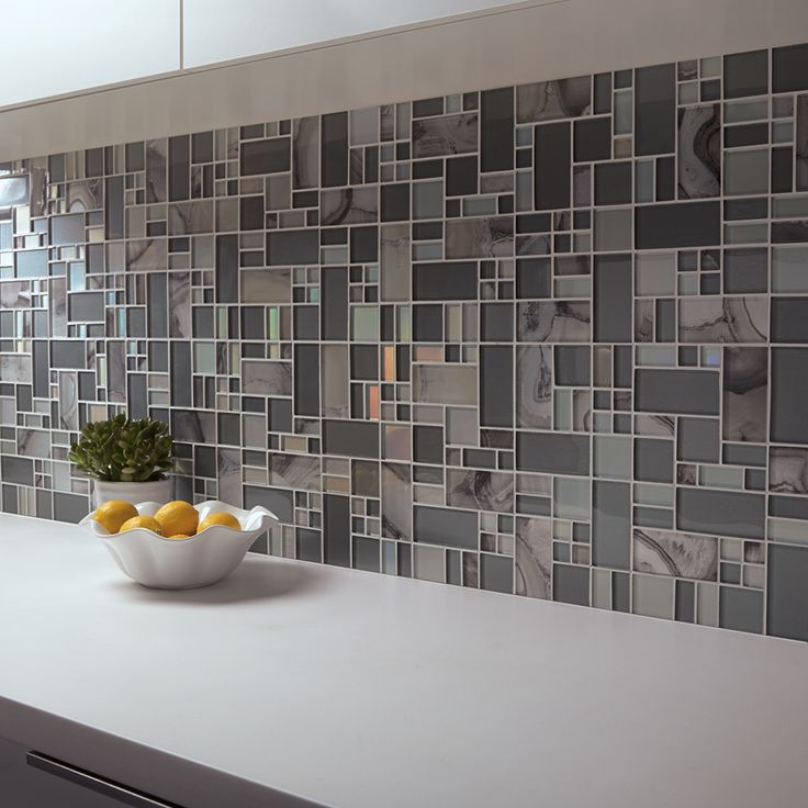 Shop allen roth volcanic pewter glass mosaic indoor Mosaic kitchen wall tiles ideas