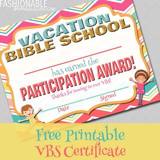 Free Printable: Vacation Bible School Certificate