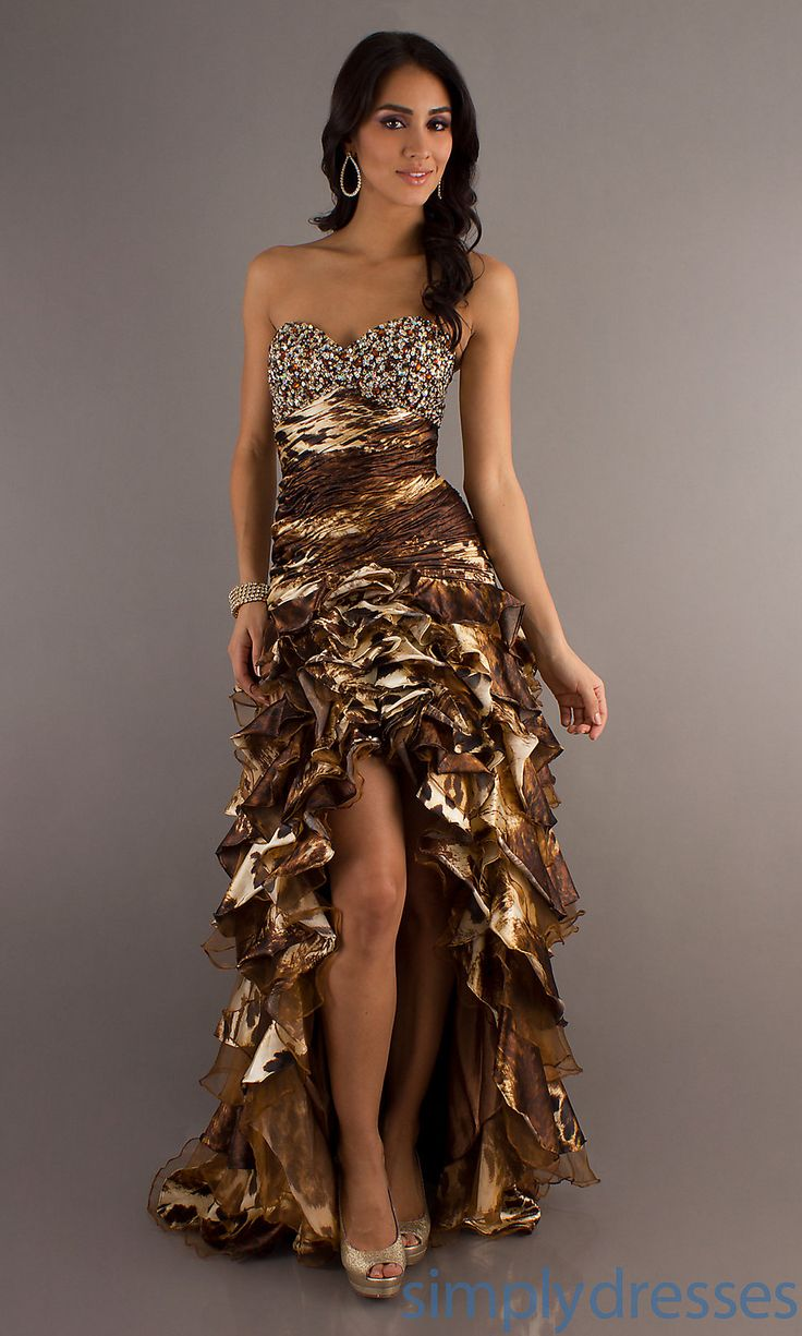 Animal Print Prom Dress, High Low Print Dresses - Simply Dresses