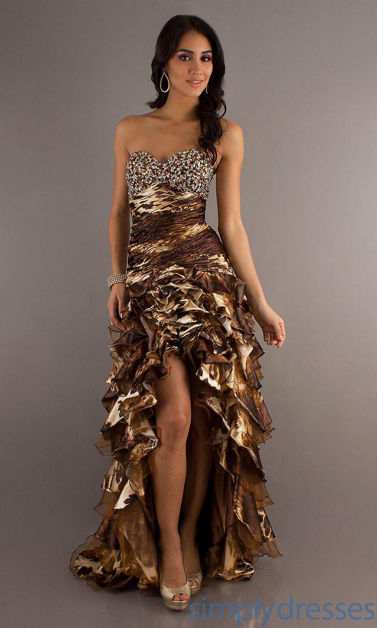 Animal Print Prom Dress, High Low Print Dresses - Simply Dresses