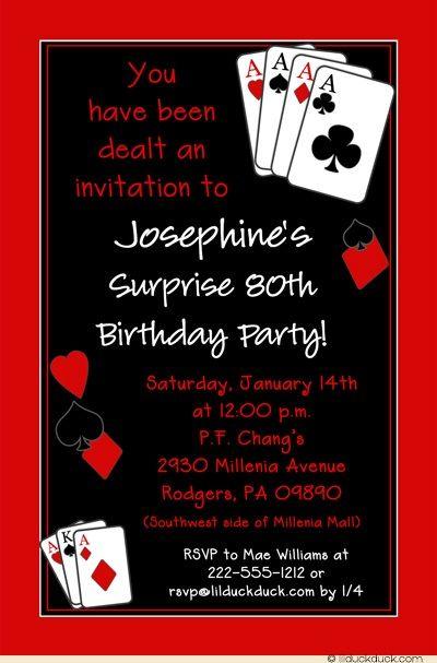 Casino Vegas Birthday Party Invitation Poker Blackjack In 2018