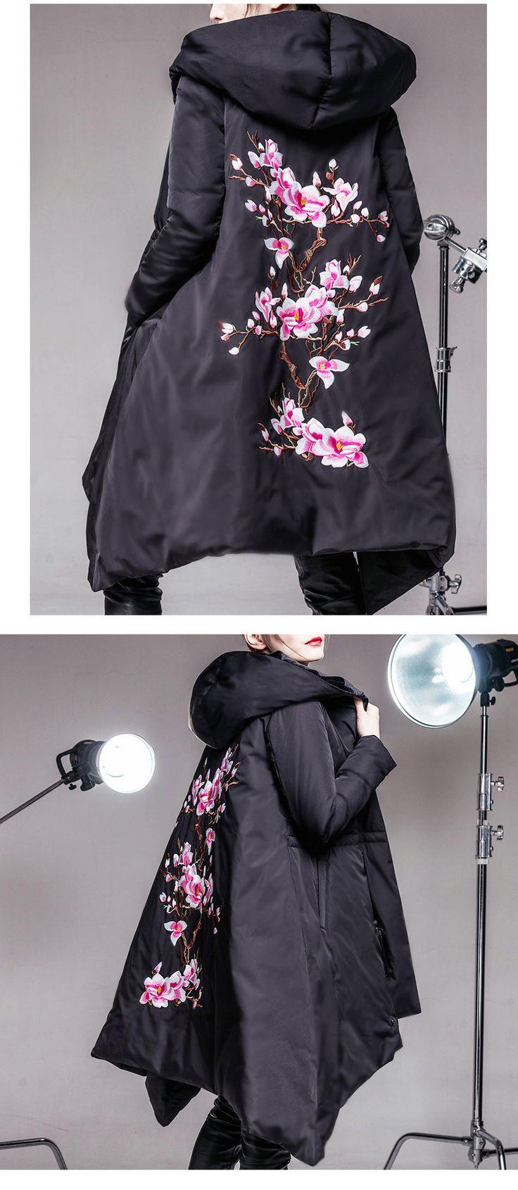 C.l.j женщин вниз пальто и парки цветение персика вышивка высокое качество бархат обратимым плащ одеяло пуховик женский купить на AliExpress