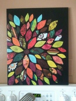 Canvas and scrapbook paper wall art--i'd like to do this using cards from the wedding