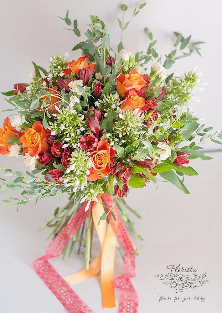 букет, рыжий букет, осенний букет, цветы, роза, альстромерия