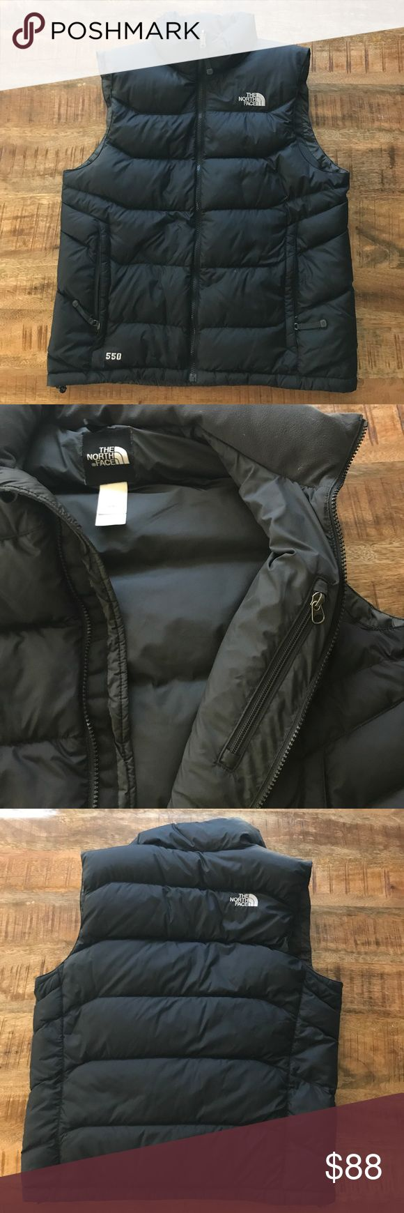 Men's North Face Nuptse down vest Great condition! Two exterior hip zip pockets, one left interior chest zip pocket. 'The North Face' logo in gray stitching on left chest and also right shoulder. Very slight imperfection near left pocket on front (see last pic). Small hole in nylon. Drawstring hip cinch inside. The North Face Jackets & Coats Vests