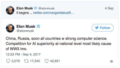 Elon Musk avertizează că inteligența artificială ar putea declanșa cel de-al 3-lea Război Mondial . Elon Musk avertizează asupra celui de-al 3-lea război mondial. Potrivit acestuia, inteligența artificială va fi elementul declanșator. https://www.gadget-review.ro/elon-musk-avertizeaza/
