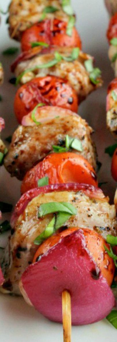 Bruschetta Pork Kabobs ~ Simple and delicious... Perfect for all your summer celebrations!