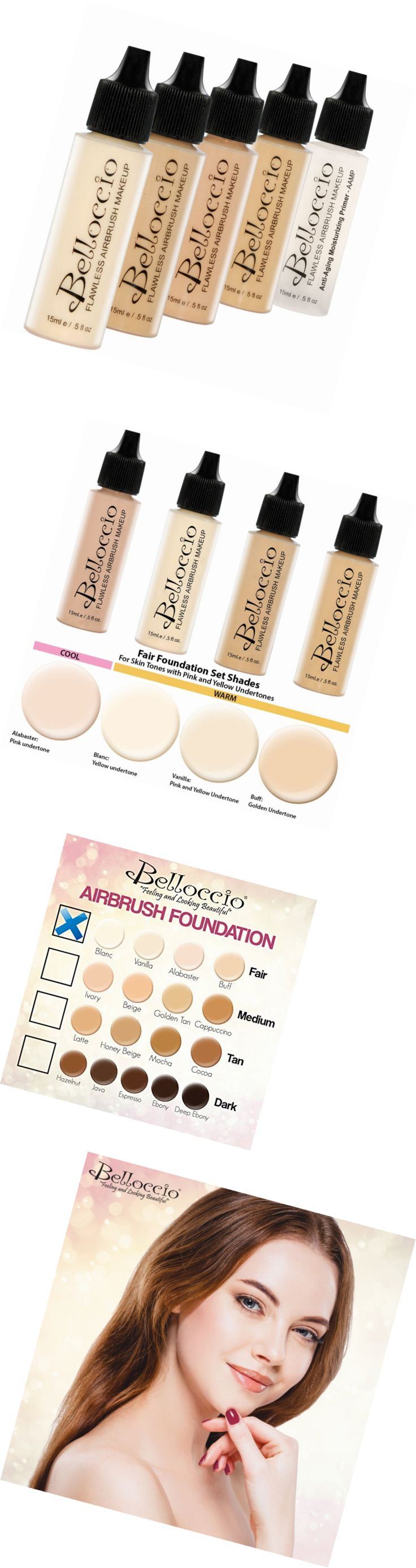 Beauty Makeup: Belloccio Fair Color Shades Airbrush Makeup Foundation Set -> BUY IT NOW ONLY: $36.75 on eBay!