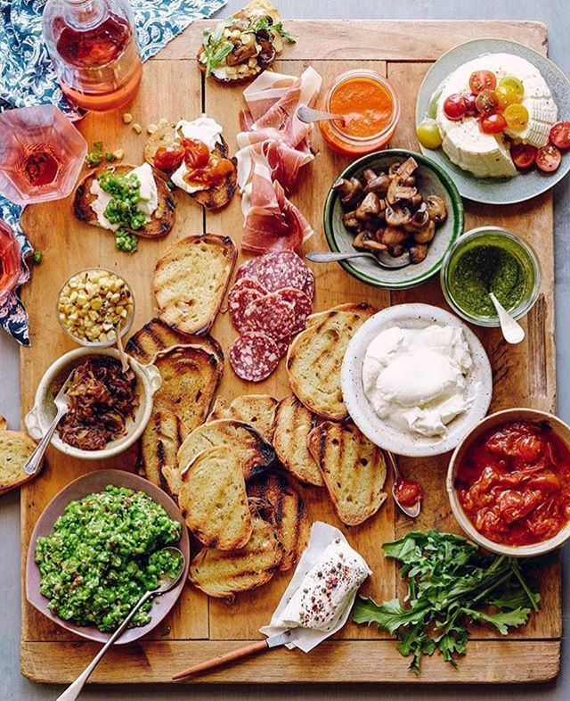 """Bruschetta bar = everyone gets exactly the hors d'oeuvres they want.""  I love this idea for an outdoor BBQ!"