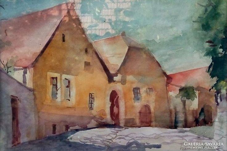 Diener Dénes Rudolf Szentendrei utcarészlet Akvarell