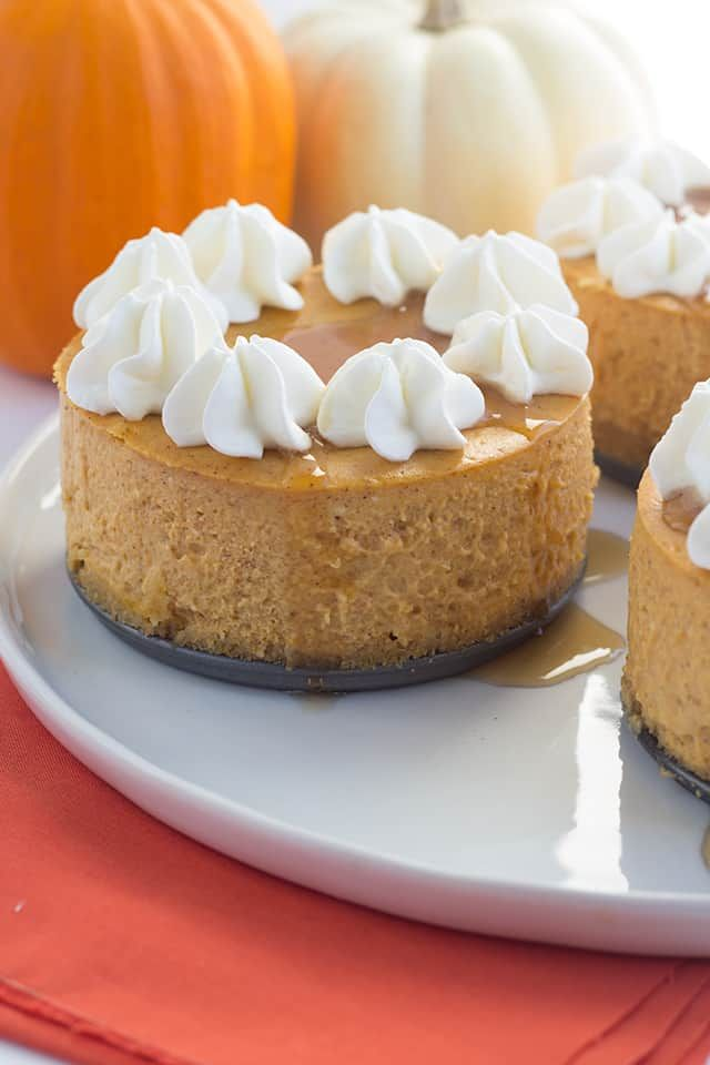 Mini Pumpkin Cheesecakes - Mini cheesecakes stuffed with all the great pumpkin pie flavors topped with maple syrup and whipped cream!