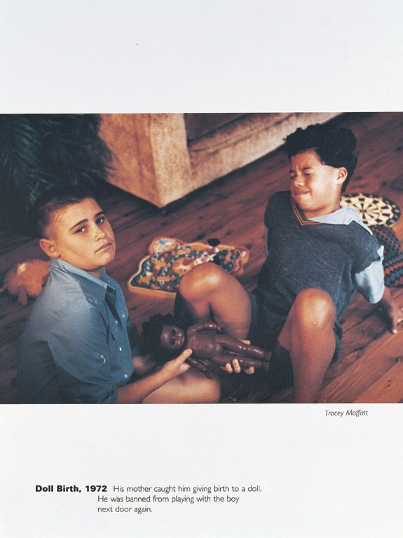 SCARRED FOR LIFE: DOLL BIRTH 1972, TRACEY MOFFATT, 1994 OFF SET PRINT  31½ X 23½ IN. (80 X 60 CM), EDITION OF 50