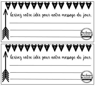 Messages du jour - cartes vierges pour les élèves mmelevasseur.blogspot.ca