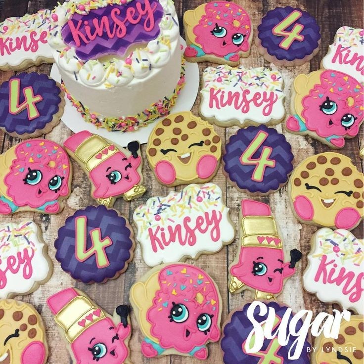 "376 Likes, 6 Comments - Lyndsie Hays (@sugarbylyndsie) on Instagram: ""Shopkins cookies and matching cake for Kinsey's 4th birthday!  #customcookies #decoratedcookies…"""