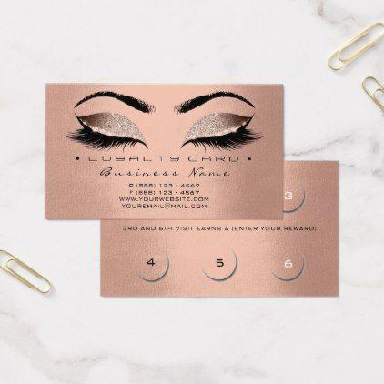 Loyalty Card 6 Beauty Salon Lashes Rose Gold Silk - glitter glamour brilliance sparkle design idea diy elegant
