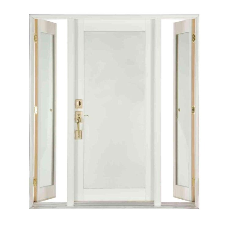 Ashworth 72 In. X 80 In. Pro Series White Full Lite Painted Wood Prehung  Front Door With Venting Sidelites