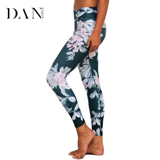 Best Selling $12.56, Buy DANENJOY Printed Yoga Pants Women High Waist Sport Printing Leggings Floral Fitness Running Tights Push Compression Sportswear