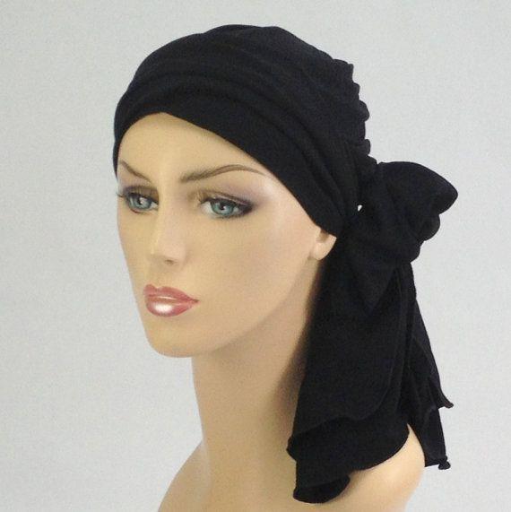 Black or White Turban Head Wrap Hat Scarf Set by TurbanDiva