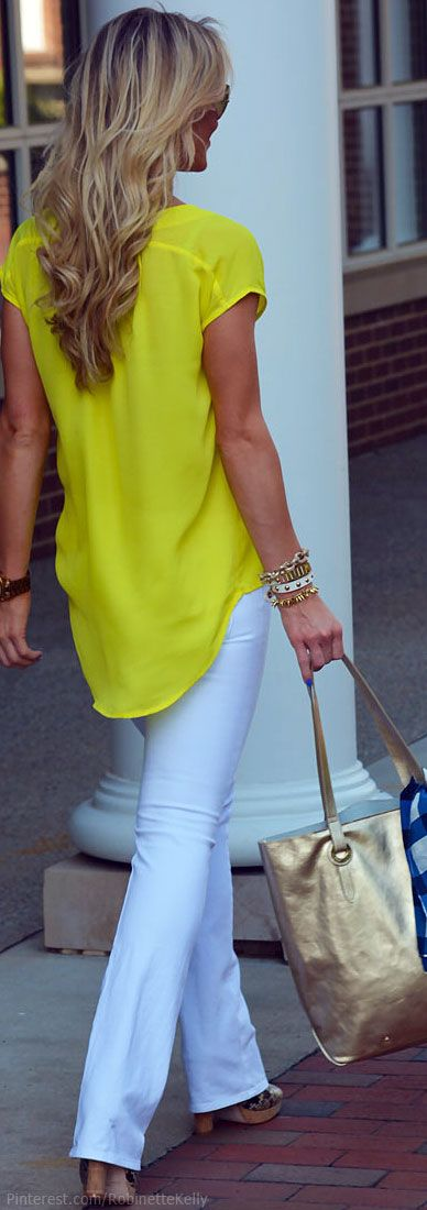 fall outfits womens fashion clothes style apparel closet ideas. Street Style yellow shirt white trousers handbag casual bracelet
