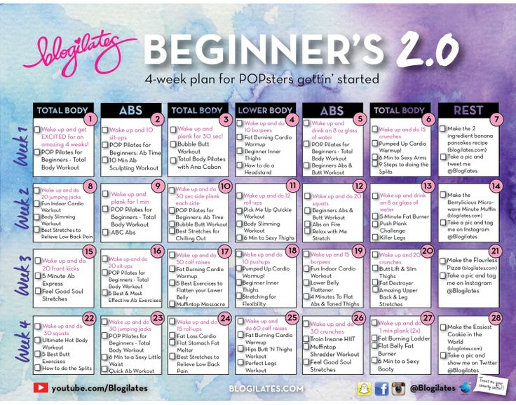 Blogilates Beginner Calendar