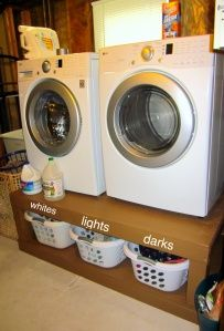 My pinterest challenge :) DIY washer/dryer pedestals. laundry organization