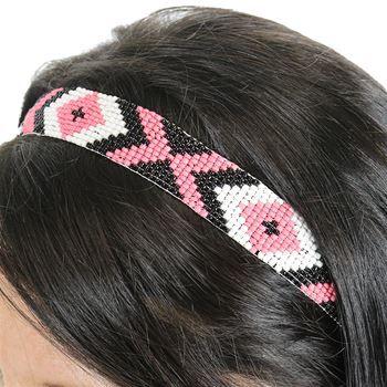 Silver Strike Women's Aztec Beaded Headband