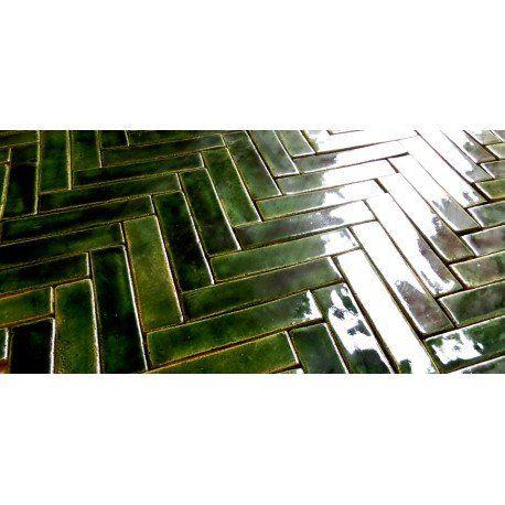 Fliesen & Kacheln - Mosaik aus Grün Fischgräten - ein Designerstück von artkafle bei DaWanda