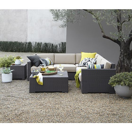 Ventura 3 Piece Loveseat Sectional with Sunbrella Stone Cushions in Ventura